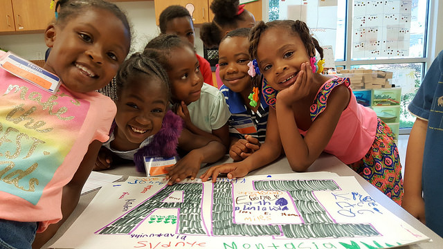 children coloring at the family success center
